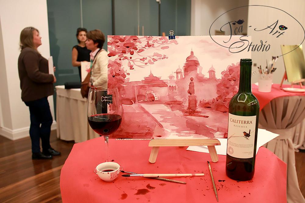 рисование вином на мероприятии