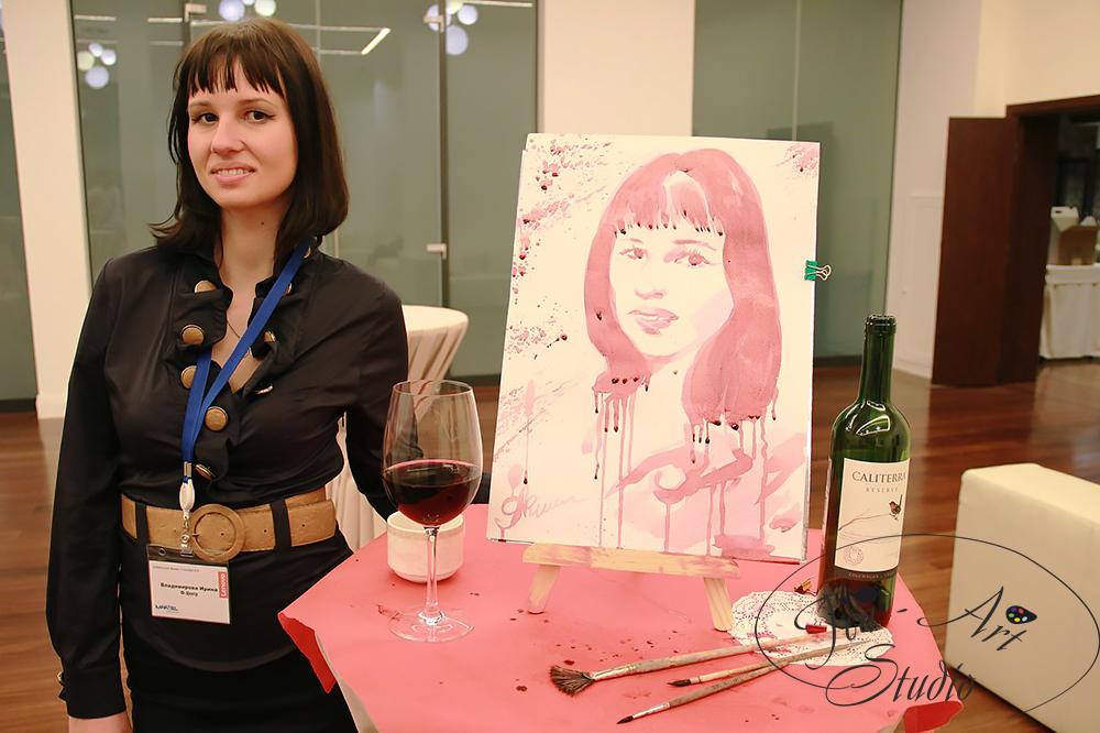 портрет вином - мастер класс по рисованию вином