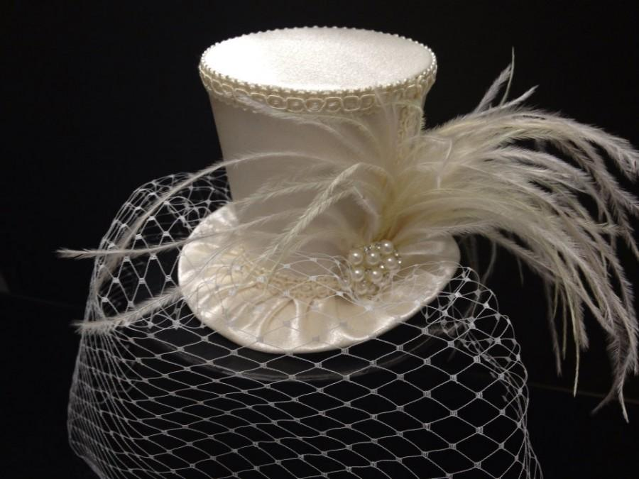 off-white-ivory-crepe-satin-mini-top-hat-with-birdcage-veil-for-wedding-bachelorette-party-bridal-shower-tea-party-or-photo-prop