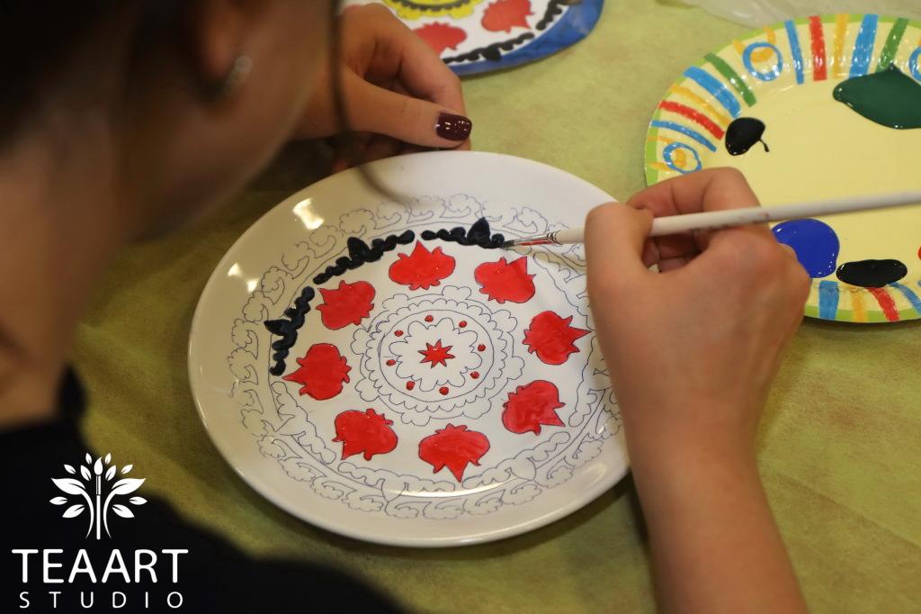 Роспись тарелок акриловыми красками мастер